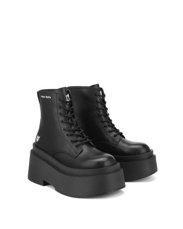 *clipped by @luci-her* Naked Wolfe Saturn Black Leather Ankle Boots