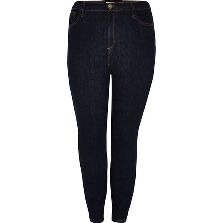 Plus dark blue Hailey high rise skinny jeans | River Island