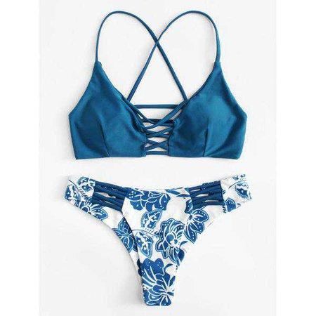 Bikinis | Shop Women's Multicolor Criss Cross Floral Print Bikini Set at Fashiontage | 8fcb15e0-0-color-multicolor-size-s