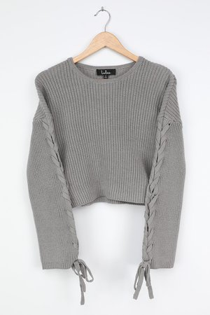 Grey Knit Sweater - Lace-Up Sleeve Sweater - Trendy Sweater Top - Lulus