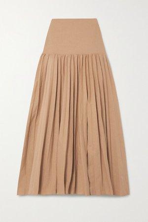 Sven Pleated Linen-blend Maxi Skirt - Beige