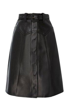 Maison Margiela Rodeo Belted Leather Midi Skirt