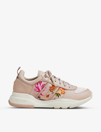 TED BAKER - Keatonr floral leather and fabric low-top trainers | Selfridges.com