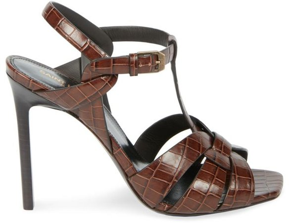 Tribute 105MM Croc-Embossed Leather Sandals