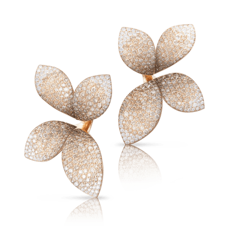 18k Rose Gold Giardini Segreti Earrings with White and Champagne Diamonds
