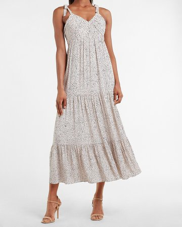 Printed Ruched V-Neck Tiered Maxi Dress