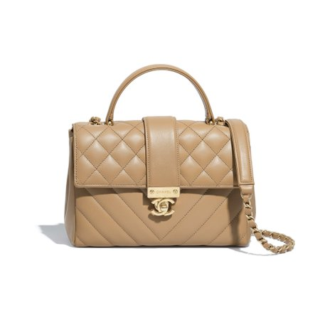 Calfskin Gold-Tone Metal Beige Flap Bag With Top Handle | CHANEL