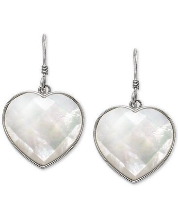 Macy's Mother-of-Pearl Heart Drop Earrings in Sterling Silver