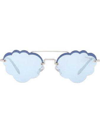 Miu Miu Eyewear Cloud Sunglasses SMU57UM1BC Silver | Farfetch