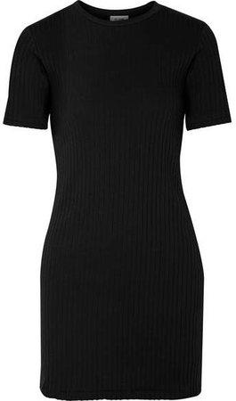 60s Ribbed Cotton-jersey Mini Dress - Black