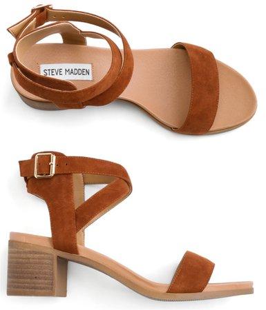 Steve Madden brown suede strap heeled sandal