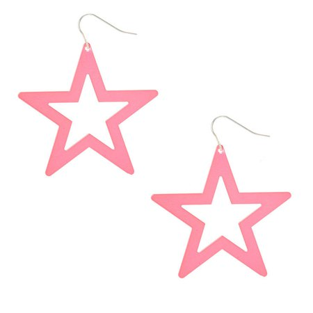 Neon Pink Star Drop Earrings | Claire's US