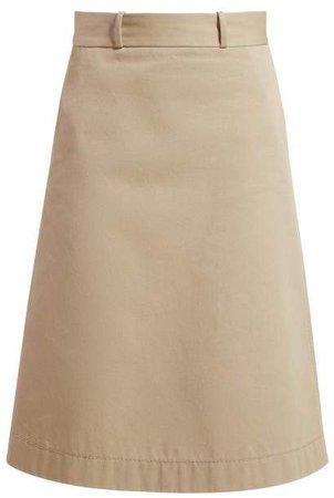 Back Button A Line Cotton Skirt - Womens - Beige