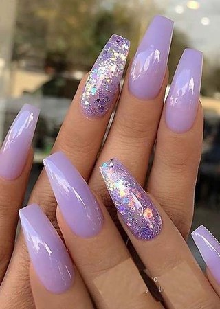 Lilac Glitter Coffin Nails