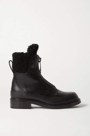 Roy Shearling-lined Leather Ankle Boots - Black