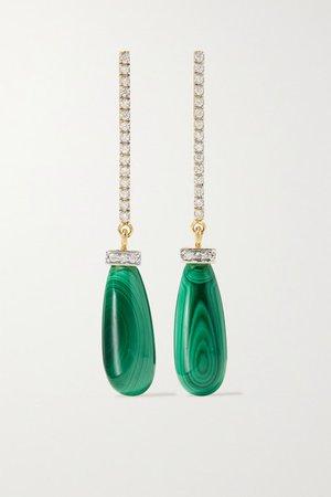 Mateo | 14-karat gold, malachite and diamond earrings | NET-A-PORTER.COM