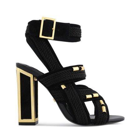 Arabella Frame Heel Rope Sandals Black & Gold | Kat Maconie – Kat Maconie®
