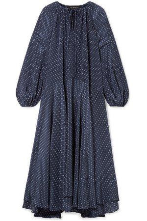 Lee Mathews | Queenie polka-dot silk crepe de chine midi dress | NET-A-PORTER.COM