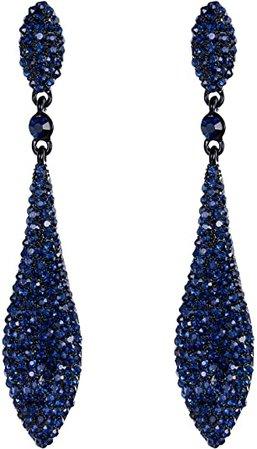 Amazon.com: EVER FAITH Women's Austrian Crystal Double Waterdrop Pierced Dangle Earrings Jet Color Black-Tone: Jewelry