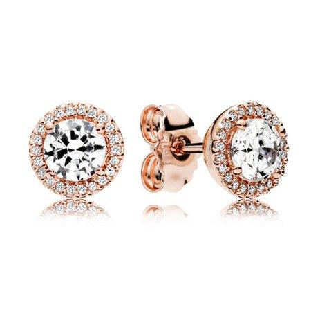 Rose Gold Classic Elegant Stud Earrings