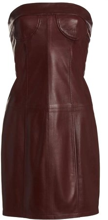Zeynep Arcay Strapless Leather Mini Dress