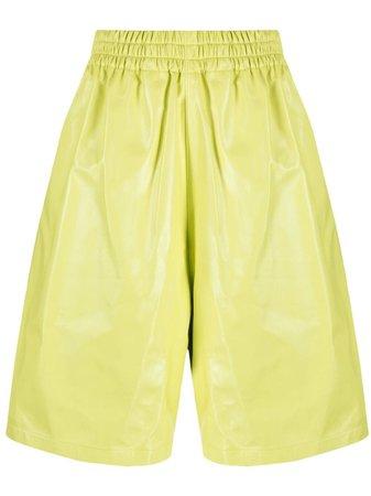 Bottega Veneta leather knee-length shorts yellow 633445VKLC0 - Farfetch
