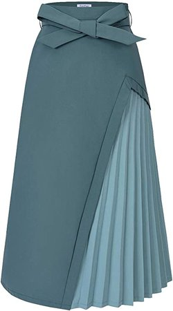 ForeFair Women's A-Line Belted Ruched Patchwork Color Midi Skirt with Pockets