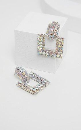 Silver Diamante Door Knocker Earring | PrettyLittleThing USA