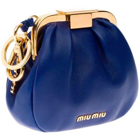 blue navy miumiu clutch bag