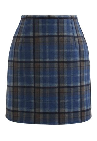 Wool-Blend Check Print Mini Skirt in Blue - Retro, Indie and Unique Fashion