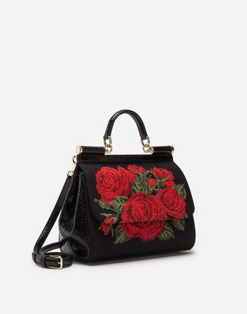 Women's Handbags | Dolce&Gabbana - MEDIUM SICILY BAG IN NEEDLEPOINT