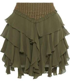 Tiered Bead-embellished Georgette Mini Skirt