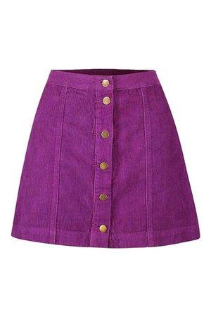 Boohoo Cord Purple Button Through Skirt