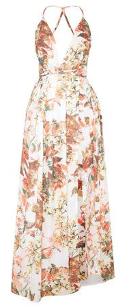 white floral print chiffon halter neck maxi dress