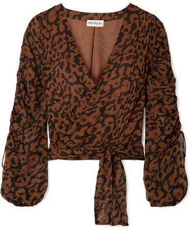 Ruched Leopard-print Silk-chiffon Wrap Top - Brown