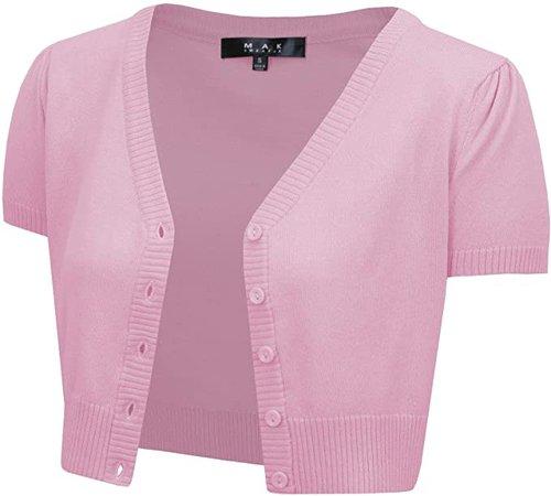 YEMAK Women's Cropped Bolero Cardigan – Short Sleeve V-Neck Basic Classic Casual Button Down Knit Soft Sweater Top (S-4XL) at Amazon Women's Clothing store