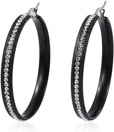 Amazon.com: Pierced Bezel Large Hoops, Hoop Earrings White Crystal ION Plated Black Hypoallergenic Gift Jewelry: Jewelry