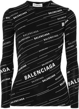 Printed Stretch-jersey Top - Black