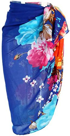 CHIC DIARY Women Chiffon Pareo Beach Wrap Sarong Swimsuit Scarf Cover Up for Vacation (Blue-Flower) at Amazon Women's Clothing store