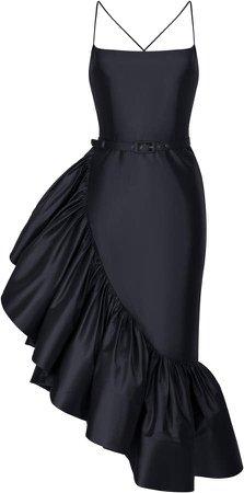 Ruffled Silk Midi Dress