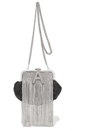 Attico | Crystal-embellished satin shoulder bag | NET-A-PORTER.COM