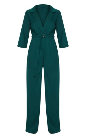 Emerald Green Woven Wide Leg Jumpsuit | PrettyLittleThing USA