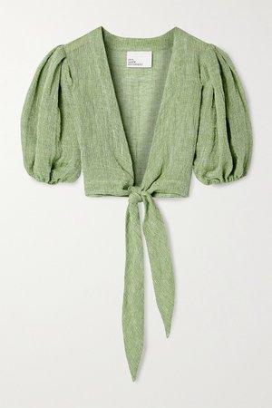 Green Pouf cropped tie-front linen-blend gauze top | Lisa Marie Fernandez | NET-A-PORTER