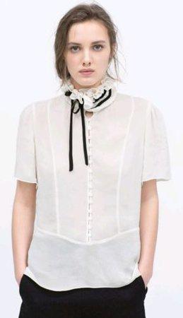 ZARA WOMAN Ivory Chiffon Blouse Short Sleeve Black Lace Puffed Collar ! Size S | eBay