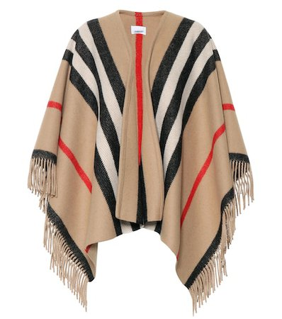 Striped wool poncho