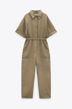 Linen Blend Jumpsuit | ZARA