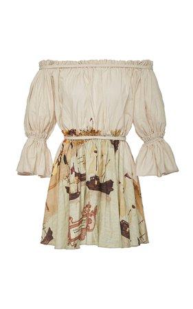 Andres Otalora Estribos Off-The-Shoulder Linen Mini Dress Size: 8