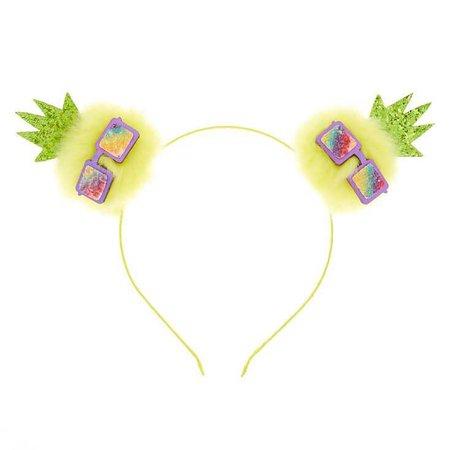 Pineapple Pom Ears Headband - Yellow