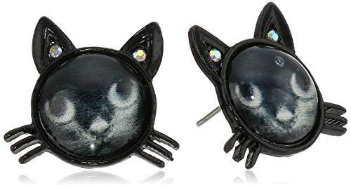 "Betsey Johnson ""Creepshow"" Cat Stud Earrings Black/Pot Black Stud Earrings: Clothing"