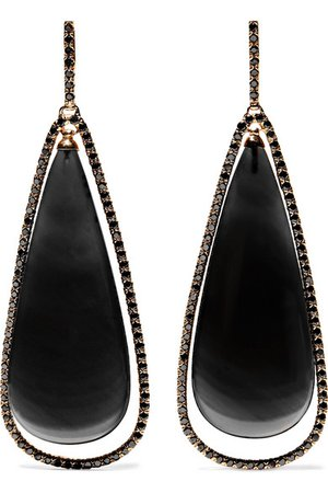 Kimberly McDonald | 18-karat rose gold, obsidian and diamond earrings | NET-A-PORTER.COM